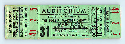 UNUSED! 1972 Vintage PORTER WAGONER & DOLLY PARTON Concert Ticket COUNTRY MUSIC