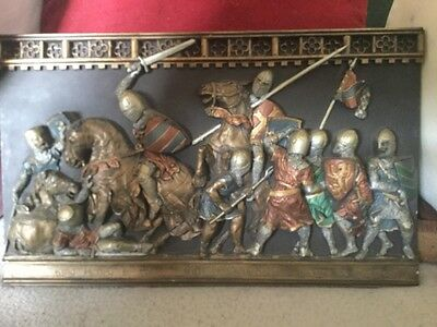 Impressive Marcus Large Plaque Depicting Knights at the Battle of Evesham