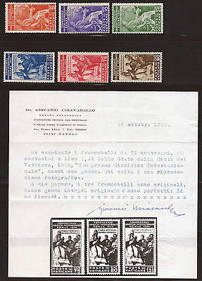 1935 Vatican Juridicial Congress In Rome, Mnh Og, Signed + Certificate Sg41/46