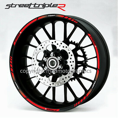 Street Triple R 675 motorcycle wheel decals rim stripes stickers laminated red