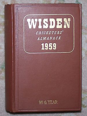 RARE FINE 1959 WISDEN Cricketers' Almanack Hard Cloth Book REID SHACKLETON