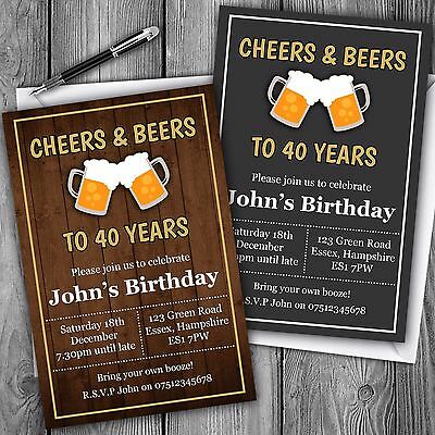 Beer Invitations Personalised Birthday Party Invites 30th 40th 50th Adult