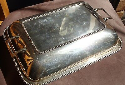 Large hallmarked sterling silver 2 piece Entrée dish