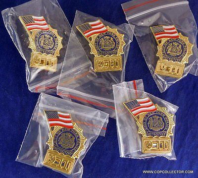 Lot Of Five Nypd Detective 9-11 Mini Badge Pins