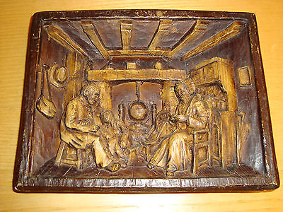 Vintage Hand Carved Wooden Wall Picture Art /Family at Home Scene  24x18cm