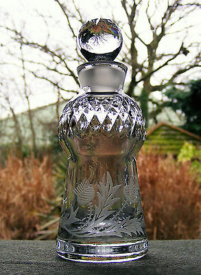 Cut Glass Crystal Perfume Bottle With Stopper - Thistle Shaped And Etched