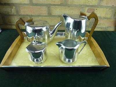 lovley vintage Picquot Ware 4 piece tea coffee set with tray VGC polished