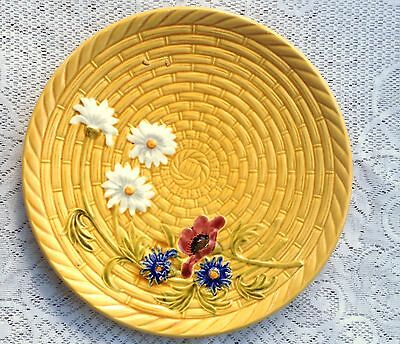 Large - 11 1/2 Inches German Majolica Basketweave With Flowers Plate (614)