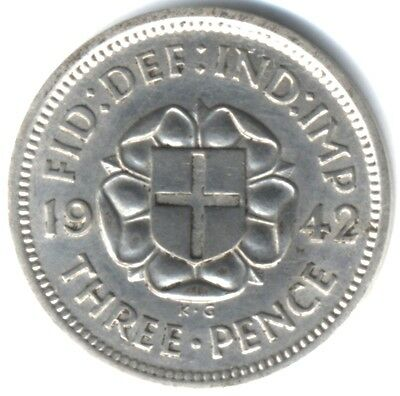 1942 George VI Silver Threepence***High Grade***Collectors***Key Date***