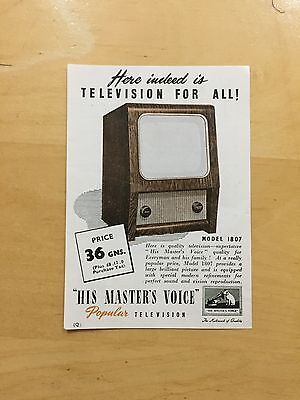 """ORIGINAL 1954  """"His Master's Voice"""" Advertising Flyer for TELEVISION Model 1807"""