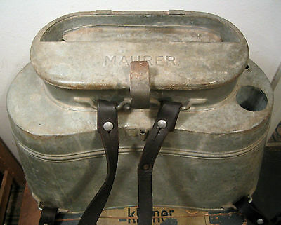 WW2 German Wehrmacht large food carrier MAURER with leather straps Container