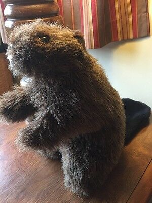 """Beaver Hand Puppet Country Critters 11"""" inch Brown Plush Made in USA Squeaks"""