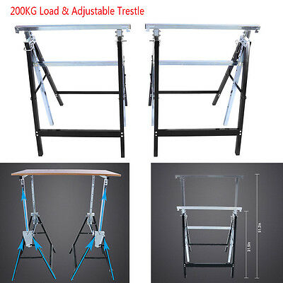 Pair of Telescopic Trestle Saw Horse Foldable Work Bench 80-130cm Adjustable