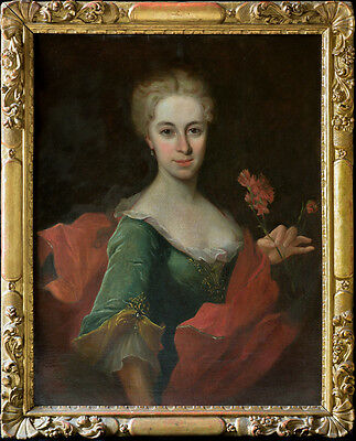Fine Large 18th Century French Portrait Lady with Flowers Antique Oil Painting