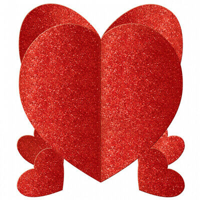 Valentines Day Mini Glitter Heart 3D Centrepieces x 3