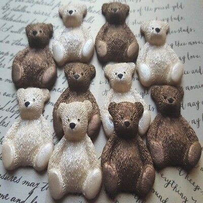 10 edible sugar teddy bears (airbrushed) cake cupcake toppers decorations