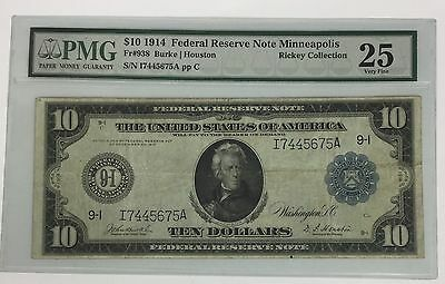 1914 $10 FRN Minneapolis ~ Fr# 939 !!! PMG VF 25 !!! Rickey Collection !!!