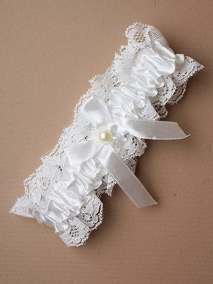New Wedding Bridal Garter Lingerie White Ivory Cream Bride Lace Pearl Gift 4904