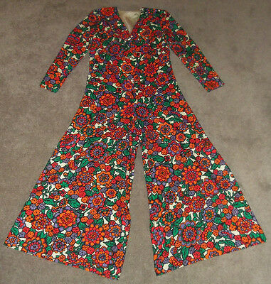 Nelly De Grab New York Vtg Floral Mod Artsy Palazzo Wide Leg Pants Jumpsuit 12