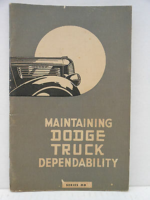 1937 Maintaining Dodge Truck Dependability Series MD Owners Care Manual