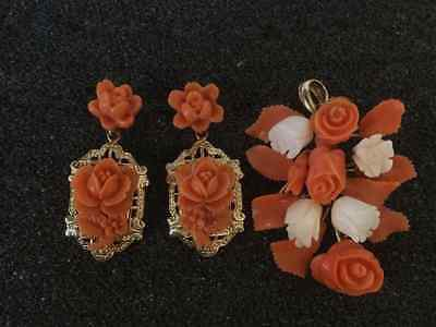 14k gold coral flower earring and pendant set