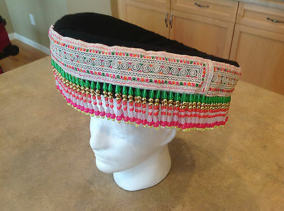 VINTAGE Hand Made Woman's Festival Hat Philippines Pacific Rim Asian Costume
