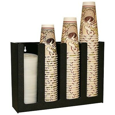 Professional Coffee Cup / Lid Dispenser Holder Organizer Caddy Rack Office Black