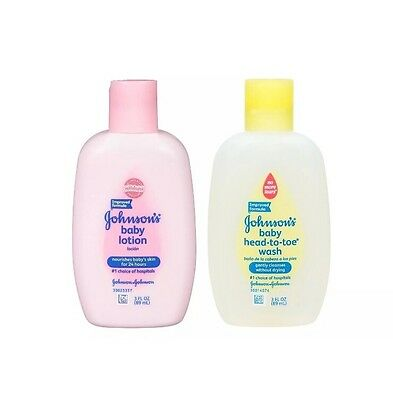 Johnson's Baby Lotion & Head To Toe Wash, Mild & Gentle - 3 oz Each - NEW