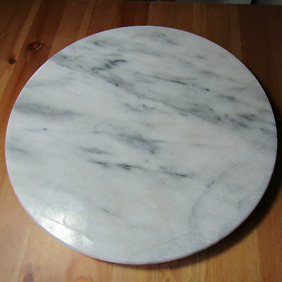 """Gray Turntable Heavy Marble Lazy Susan Serving Platter Carousal 12"""" Wide VGC"""