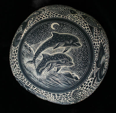 Exquisite Detailed Hand Carved Gourd Dolphin & Other Sea Life Folk Art Mexican