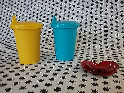 NEW Tupperware  bell tumblers sippy seals  kids/toddlers  Yellow/Aqua ��