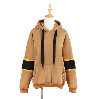Womens Pocket Hoodies Fleece Warm Sweatshirt Back Letter Print Patchwork Tops