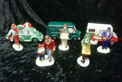 Department 56 Snow Village Collection Handpainted Ceramic Accessories  LOT of 5
