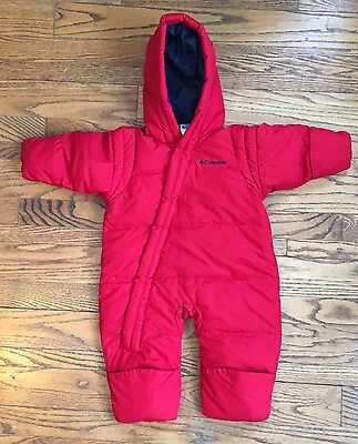 Columbia Infant Bunting Down, Snowsuit 12 Months Red