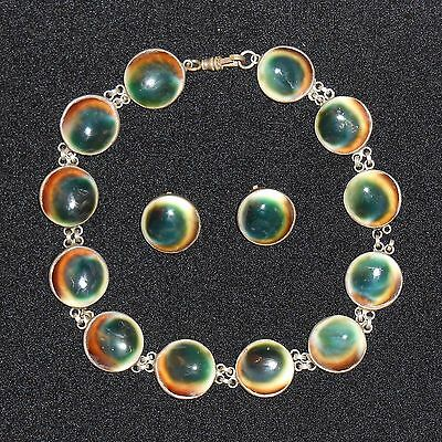 South Pacific Silver & Cats Eye Operculum Choker Necklace, Clip on Earrings