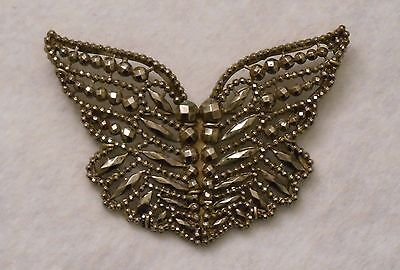 Large Antique Victorian Cut Steel Butterfly Pin Brooch