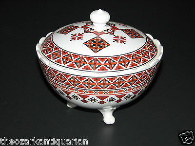 Sugar Bowl vintage Ukrainian Art by Marusia pottery ceramic rushnyk folk art