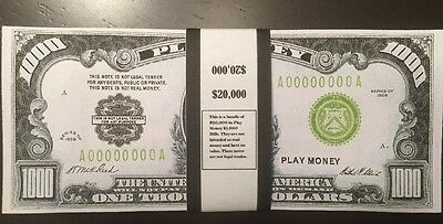 $20,000 In Play Money 1928 $1,000 Bills 20 pieces. Prop Money USA Actual Size!
