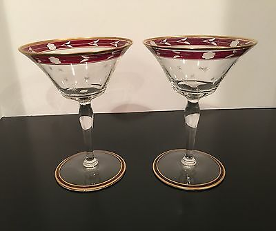 2 Vtg Cranberry Etched Rim Gold Edge Flaired Champagne Coupe Wine Glasses Stars