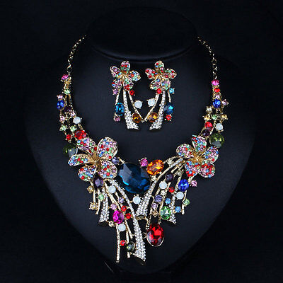 Multicolour Rhinestone Crystal Earrings Necklace Set Jewelry Bridal Party Gift