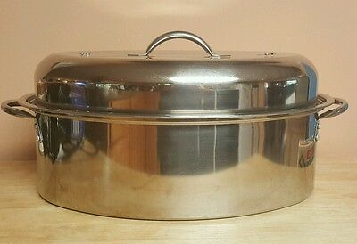 Vintage Metro Stainless Steel Oval Oven Roaster Pan With Lid