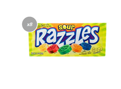 903156 10 x 40g PACKETS OF SOUR RAZZLES - FIRST IT'S CANDY... THEN IT'S GUM!