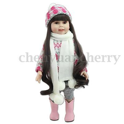 18'' 45cm Realistic Long Hair Reborn Baby Girl Kids Silicone Dolls Toy Gift