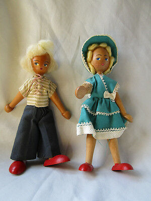 "Adorable wooden pair of dolls from Poland couple boy girl  7-1/4"" tall"