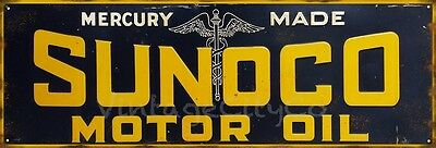 "Antique Style "" Sunoco Motor Oil "" Mercury Made - Metal Sign. Rusted"
