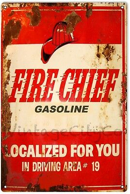 "Antique Style Texaco Fire Chief Gasoline ""Localized for You"" Metal Sign -Rusted"
