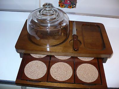 VINTAGE WOOD CHEESE CUTTING BOARD Tray W GLASS DOME LID & COASTER SET PLATTER