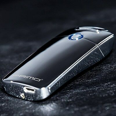 Primo Electric Plasma Arc Windproof Cigarette USB Rechargeable Lighter Silver