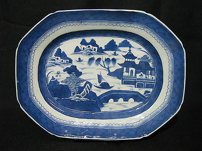 """Mid-19th Century Chinese Canton Blue & White Porcelain 12.5"""" Platter, Mint"""