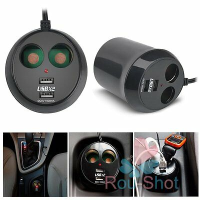 Dual USB Car Charger Cigarette Lighter 2 Way Power Adapter Cup Holder 12V-24V【AU